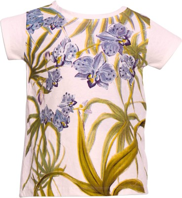 Parv Collections Casual Short Sleeve Printed Girls White Top