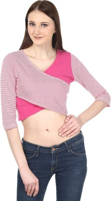 Ruse Casual 3/4 Sleeve Striped Women's Pink, White Top