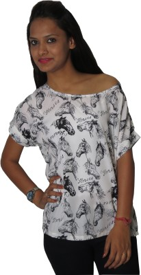 Modo Vivendi Casual Short Sleeve Animal Print Women's White Top