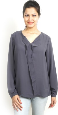 Bay & Blue Casual Full Sleeve Solid Women's Grey Top