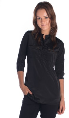 Miss Rich Casual 3/4 Sleeve Solid Women's Black Top