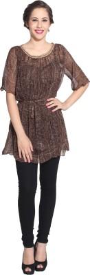 IZMOKE Casual 3/4 Sleeve Self Design Women's Brown Top