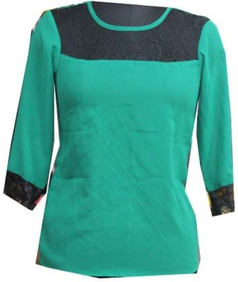 sap Casual Full Sleeve Self Design Girl's Green Top