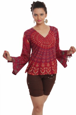 Indi Bargain Casual, Festive, Formal, Party Full Sleeve Floral Print, Printed Women's Multicolor Top