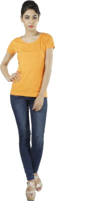 Shilpi Casual Short Sleeve Solid Women's Orange Top