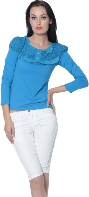 Trendy Divva Casual 3/4th Sleeve Self Design Women's Blue Top at flipkart