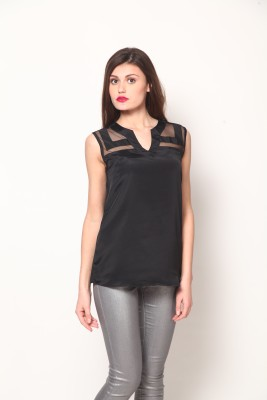 Athena Casual Sleeveless Solid Women's Black Top at flipkart