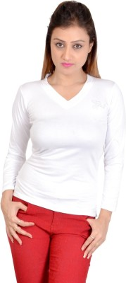 SWEEKASH Casual Full Sleeve Solid Women's White Top