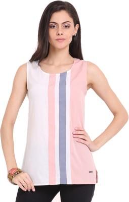 Ridress Casual Sleeveless Striped Women's Pink, Grey Top