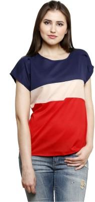 Dhrohar Casual Short Sleeve Striped Women,s Red Top