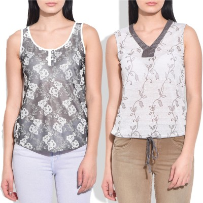Addyvero Casual Sleeveless Embellished Women's Multicolor Top
