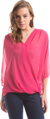 Shuffle Casual Balloon Sleeve Solid Women's Pink Top