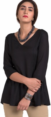 The Office Walk Formal 3/4 Sleeve Solid Women's Black Top
