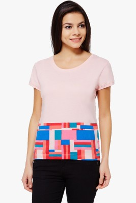 PNY Casual Short Sleeve Printed Women,s Pink Top