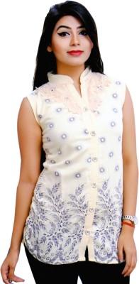 RIWAZ Casual Sleeveless Printed Women's Beige Top