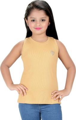 Triki Party Sleeveless Self Design Girl's Beige Top