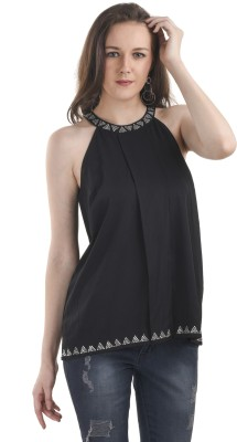 Ausehen Casual Sleeveless Embellished Women's Black Top