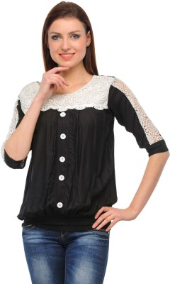 Henry Club Casual 3/4 Sleeve Embroidered Women's Black Top