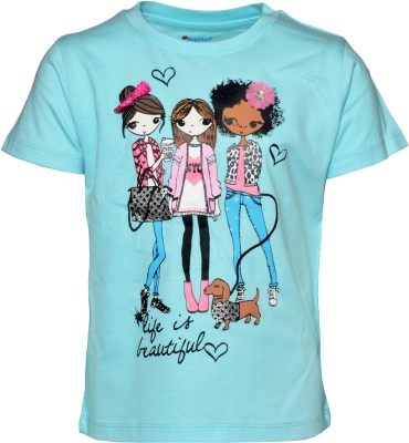 Pepito Casual Short Sleeve Printed Girl's Light Blue Top