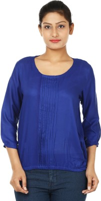 UrSense Casual 3/4 Sleeve Solid Women's Blue Top