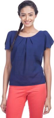 TrendBAE Casual Short Sleeve Solid Women's Dark Blue Top