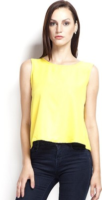 Popnetic Casual Sleeveless Solid Women's Yellow Top