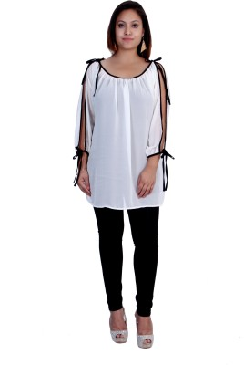 Rich Creations Casual, Party Full Sleeve Solid Women's White, Black Top