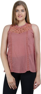 Bainy Casual Sleeveless Solid Women,s Pink Top