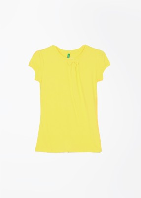 UCB Casual Short Sleeve Solid Girl's Yellow Top