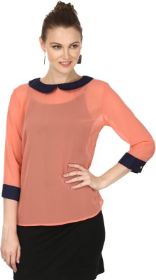 Pour Femme Casual 3/4 Sleeve Solid Women's Orange Top