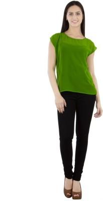 GUDS Casual Cap sleeve Solid Women's Green Top