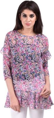 Aarr Casual 3/4 Sleeve Floral Print Women's Purple Top