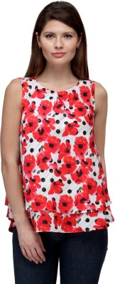 FW Collection Casual Sleeveless Floral Print Women's Red Top