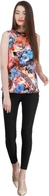 Zupe Party Sleeveless Floral Print Women's Orange Top