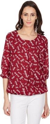 Color Cocktail Casual 3/4 Sleeve Printed Women's Red Top