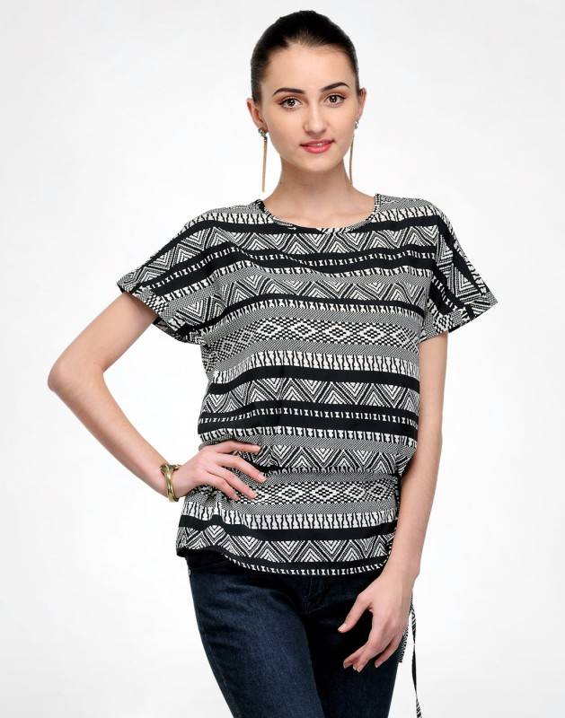Color Cocktail Casual Short Sleeve Printed Women's Grey, Black Top