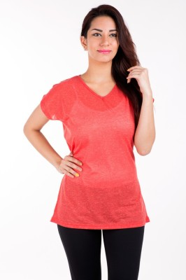 De Moza Casual Short Sleeve Solid Women's Red Top