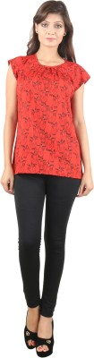 UVR Casual Sleeveless Printed Women's Red Top