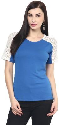The Vanca Casual Short Sleeve Solid Women's Blue Top at flipkart