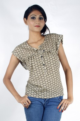 Zolake Casual Printed Women's Beige Top