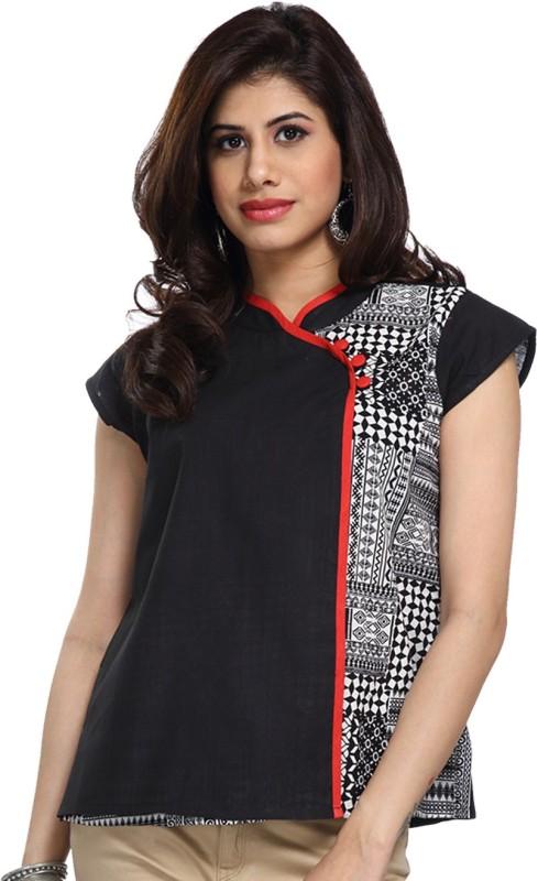 Enah Casual Short Sleeve Graphic Print Women's Black Top
