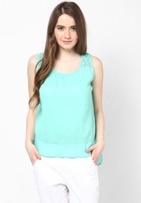 Honey By Pantaloons Casual Sleeveless Solid Women's Light Green Top at flipkart