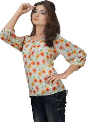 Kurtiz Casual Short Sleeve Printed Women's Multicolor Top