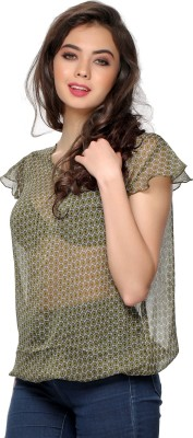 Clovia Casual Butterfly Sleeve Printed Women's Green Top at flipkart