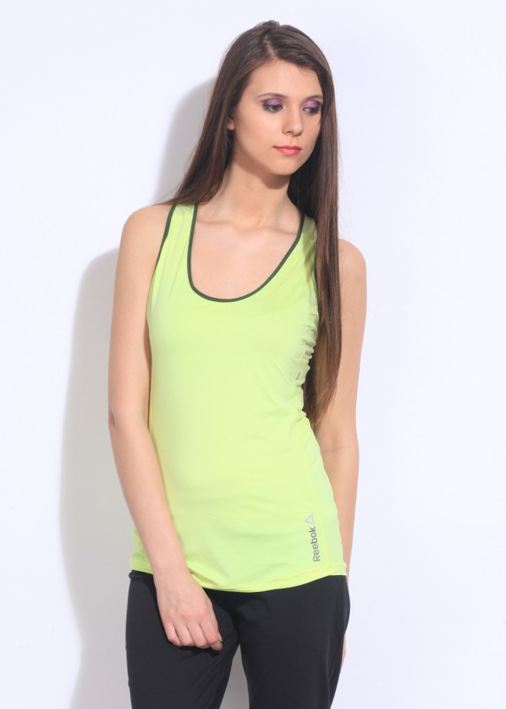 Reebok Casual Sleeveless Solid Women's Green Top