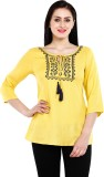 Mustard Casual 3/4th Sleeve Solid Women'...