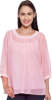 Lucero Casual 3/4 Sleeve Solid Women's Pink Top