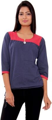 Msons Casual 3/4 Sleeve Polka Print Women's Blue, Red Top