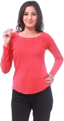 La Divyyu Party Full Sleeve Solid Women's Red Top