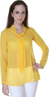 Rigoglioso Casual Full Sleeve Solid Women's Yellow Top